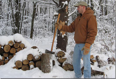 Frank Splitting Wood from Cull Trees